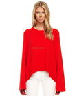 High quality knitted red arch hem cashmere sweater / shawl women