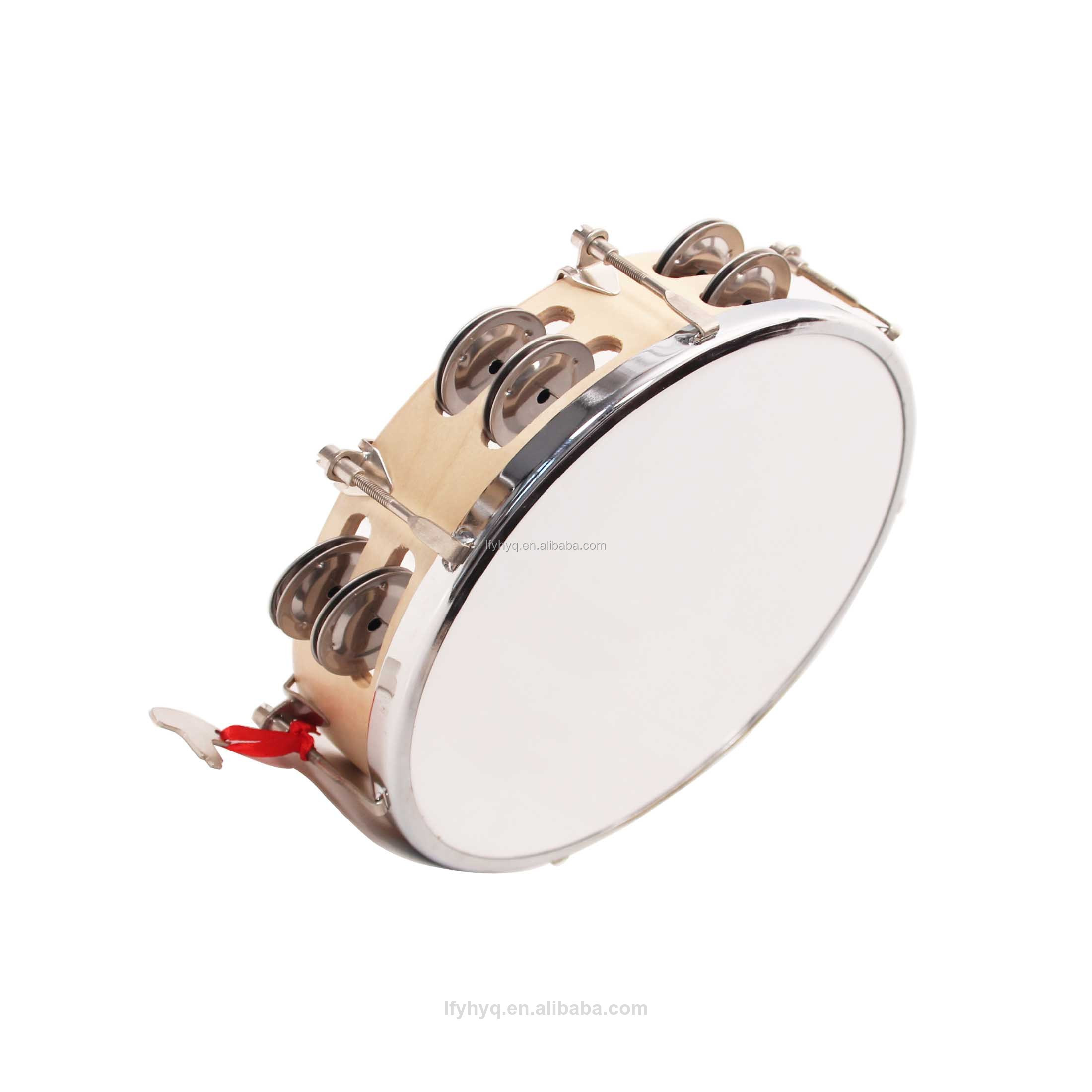 Percussion Instruments Wood Shell manmade Skin Head Tambourine Hand Drum with Bells