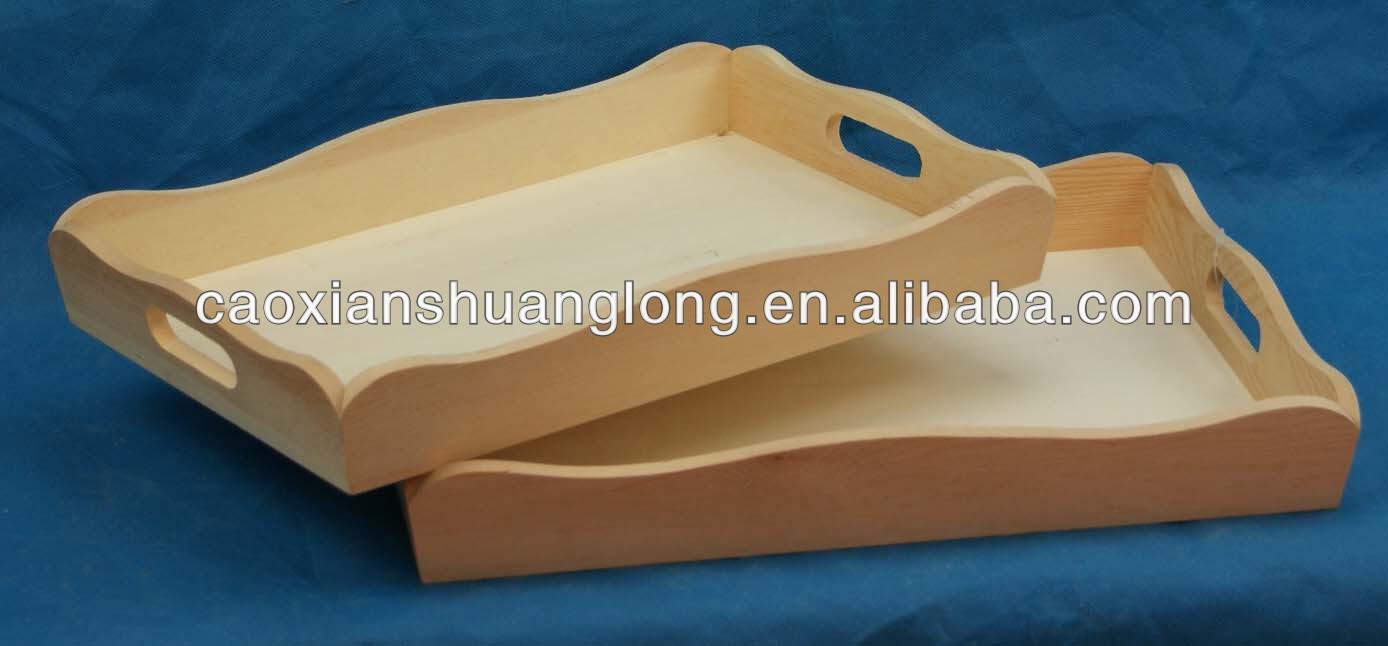 New environmental unfinished natural rectangular wooden serving tray with handle holes
