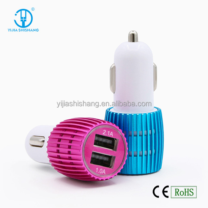 Portable Car Battery Charger 3.1A Dual USB Ports Metal Car Charger with Excellent Quality