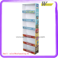 Stable multifunctional tall floor free standing K3 corrugated cardboard material display shelf for toy