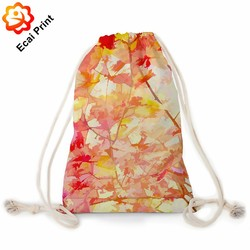 Wholesale small custom made heat transfer printed drawstring travel bag