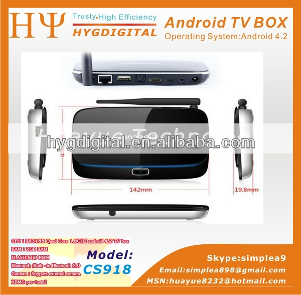 cs918 android smart tv box rk3188 ram 2gb rom 8gb google android 4.2 mini pc tv box