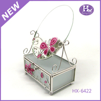 New Product HX-6422 Clear Glass Butterfly Baby Trinket Box with mirror