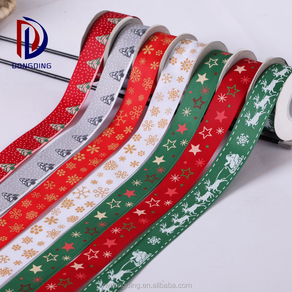 Custom silk screen printing outdoor ribbon 25mm christmas snowflake grosgrain ribbon