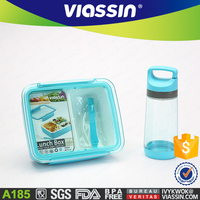 A185 wholesale take away 2 compartment plastic lunch box with bottle