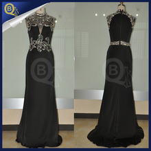 Elegant Black Mandarin Collar Prom Dresses 2016 Long Jersey Evening gowns