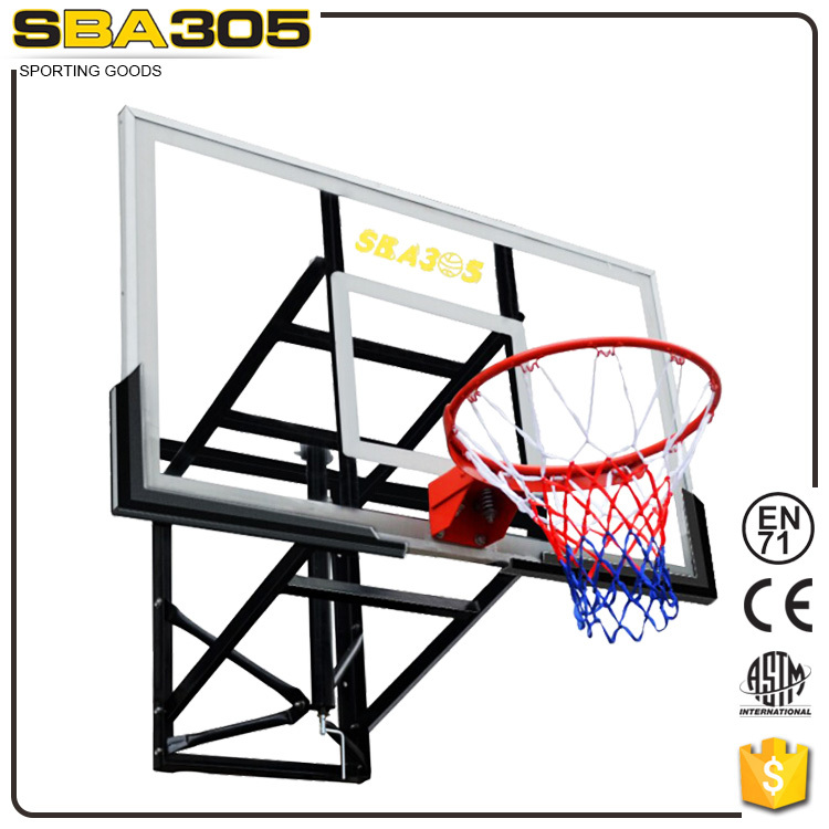 Wall mounted basketball backboard with PC or tempered glass basketball hoops.