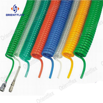 Best yellow self coiling curly flexi coil spiral recoil air hose spiral pneumatic assembly for trucks