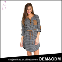 OEM Plus Size Factory Price Long Sleeve One Piece Casual Dress Striped Daily Wear Cotton Dress