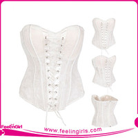 Hexin Fashion Wholesale White Sexy Busty Corset Lingerie