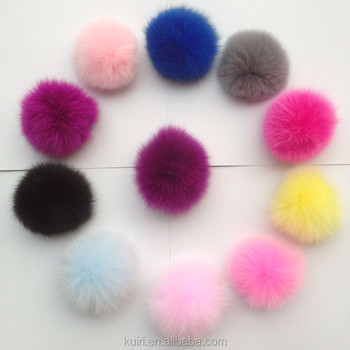 Factory Wholesale Colorful Real Fox /rabbit/raccoon Fluffy Fur Pom Poms / Balls