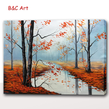 Wonderful Scenery Canvas Handmade Trees Oil Decor Painting