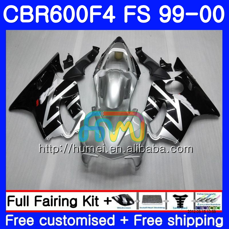 Bodywork For HONDA CBR600F4 CBR600 F4 99 00 FS Silver black 4HM13 CBR 600F4 CBR600FS CBR 600 F4 1999 2000 Fairing TOP black