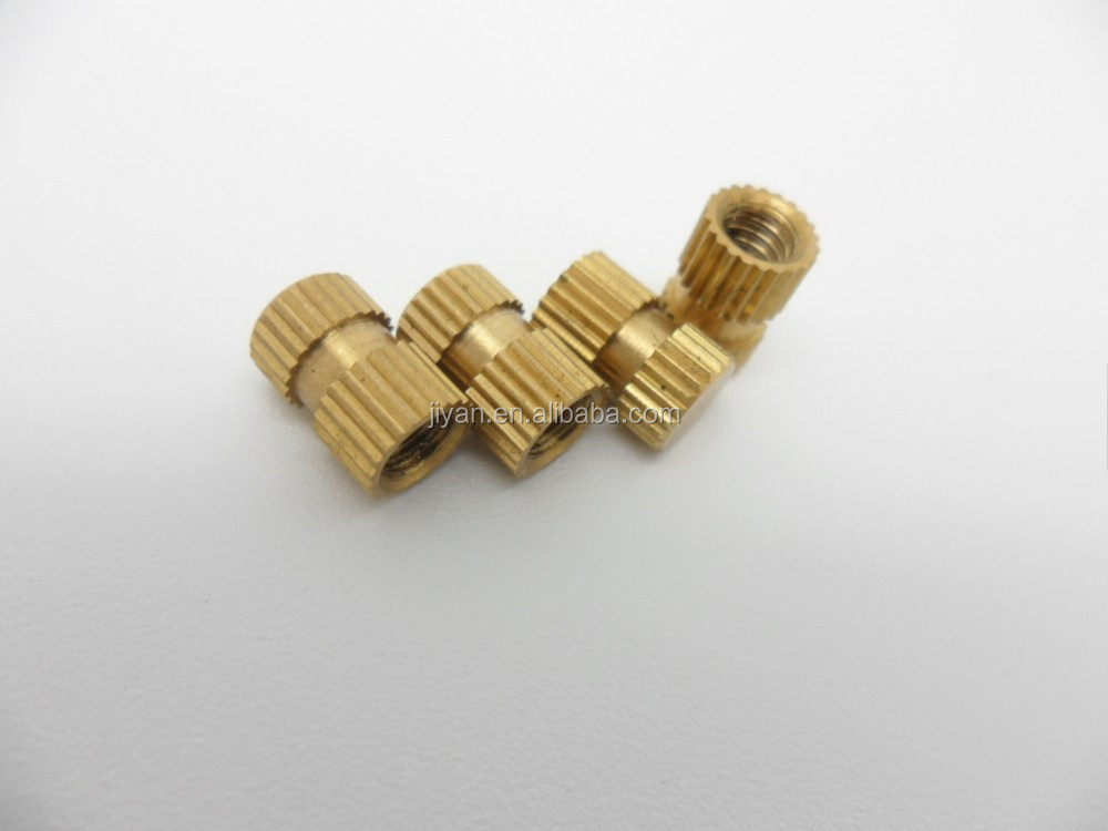 Brass customized knurled female thread blind insert for plastic