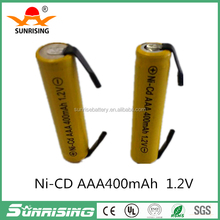 AAA/AA ni-cd 1.2v rechargeable battery with soldering sheet