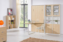 No moq hidden wall bed vertical murphy bed with dinning office table bed side cabinet oem European rural style