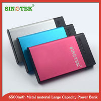 SINOTEK Aluminum alloy case 6500 mAh mobile phone power bank for iphone5s