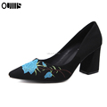 New Fashion Embroidery Rose high heel woman dress shoes PL1823