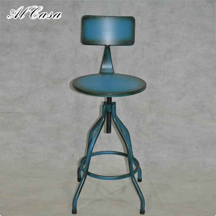 Wholesale vintage cheap antique metal industrial adjustable bar stool