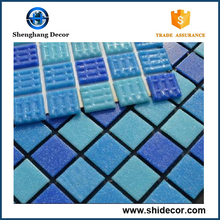 Hot melt material thickness 4mm swimming pool glass mosaic tiles 20x20mm