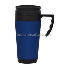 16oz insulated solid plastic coffee drinking mug cup with handle