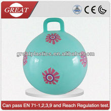 Eco-friendly decal hopper ball/ jumping ball with flower effect / special new skipping ball