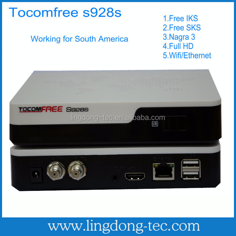 New arrival best digital hd satellite tv receiver tocomfree s928s free iks /sks vs skybox