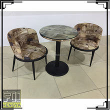 Small round glass top dining table with round bottom