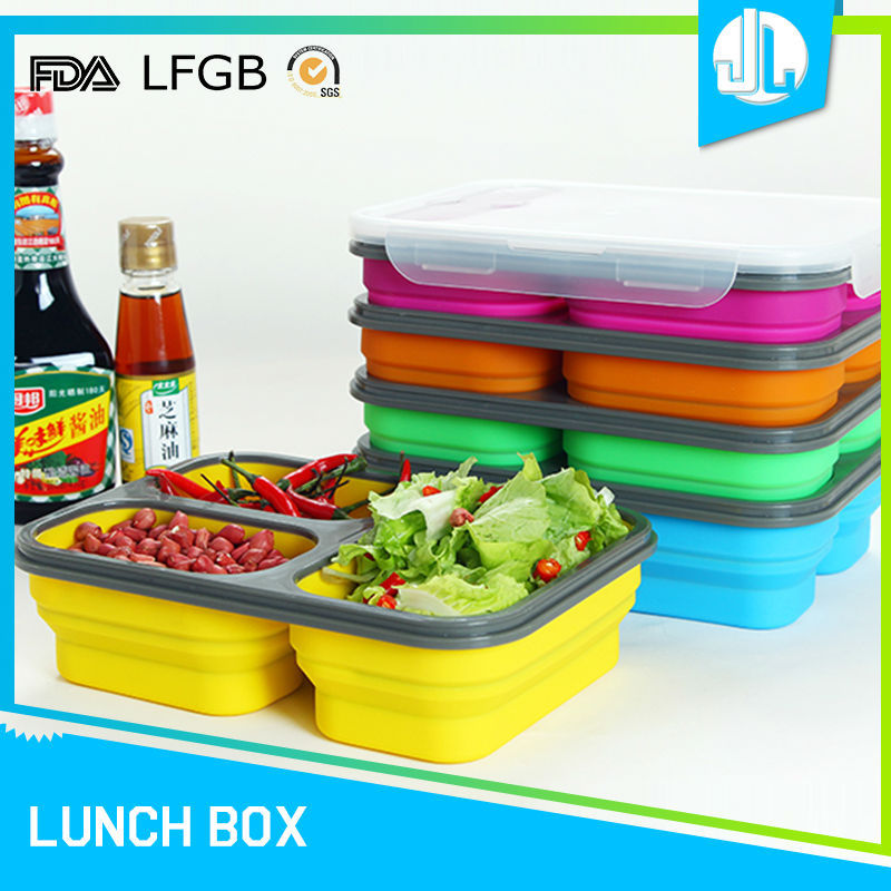 Anti-stain collapsable silicone lunch box
