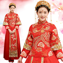 2018 New fashion embroidery red mandarin bridal wedding dress