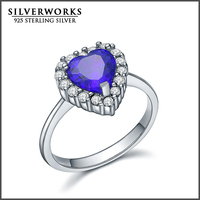 Classic Design cz silver jewelry of 925 sterling silver ring with heart shape big center cz stones