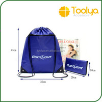 Folding Polyester Shopping Drawstring Backpack String Outdoor Sports Bag
