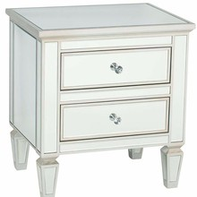 Venetian Style Metallic Edged Bedside Table Mirrored Furniture with 2 Drawers