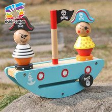 Wholesale educational pirate boat theme stacking blocks game wooden balance toy for kids W11F056