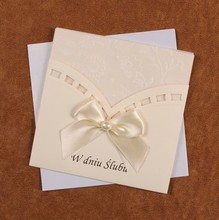 Luxury ivory muslim invitation wedding cards laser cut for party with ribbon butterfly