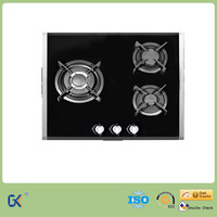 3 Burner Built-in Tempered Glass Gas Stove with Curved Enamel Pan Support