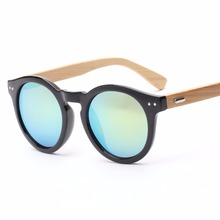 AM10001 round shape vintage sunglasses <strong>bamboo</strong>