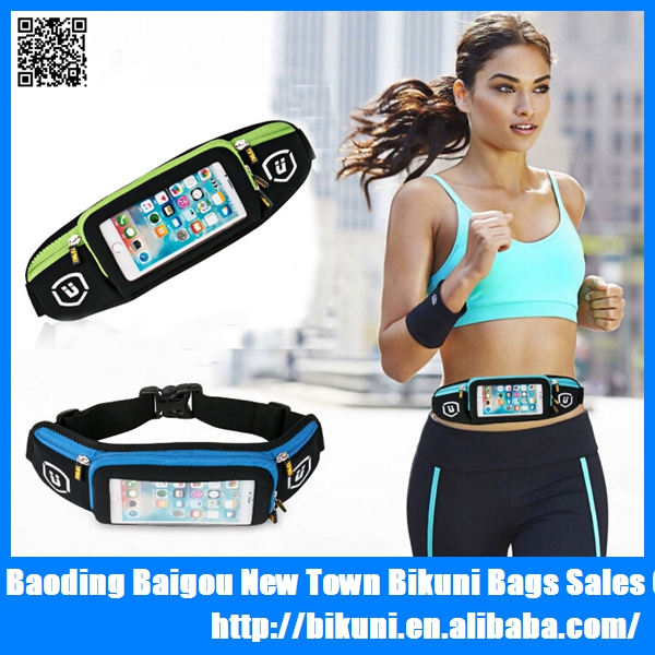 Hot sale fitness gym phone waist pouch touch screen neoprene running elastic sport waist bag China supplier