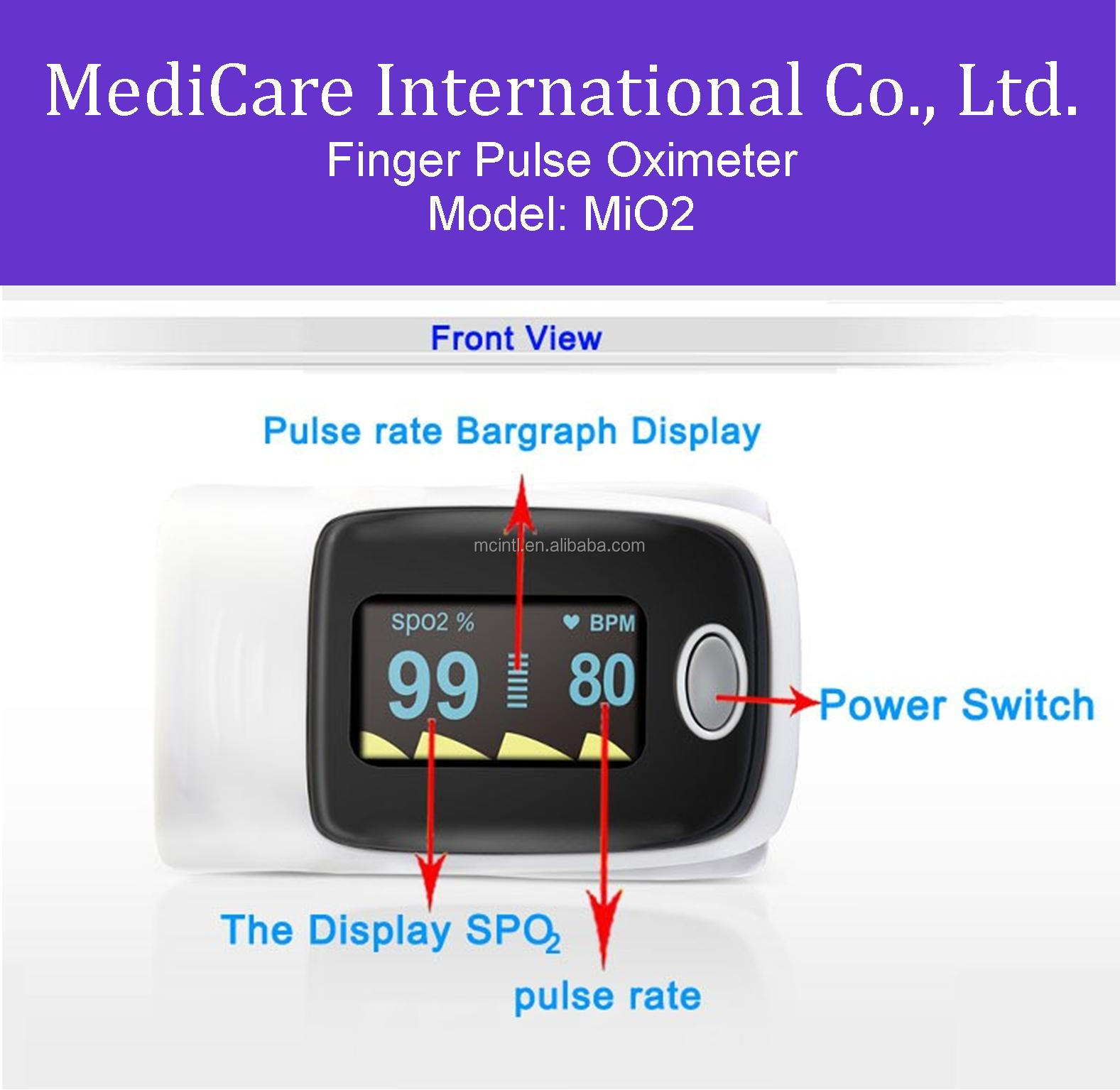 MediCare MiO2 SpO2 Color OLED Display Finger Pulse Oximeter