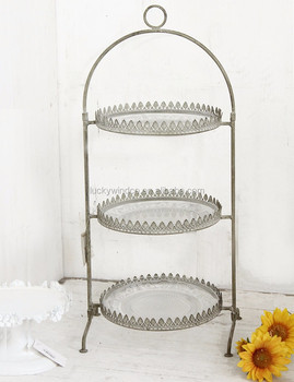 Antique Vintage Round 3 Tier Metal Glass Wedding Cup Cake Stand with glass plate