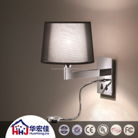 led headboard reading wall lamp mounted with double fabric shade for hotel