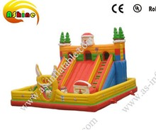 Outdoor inflatable Santa Claus toy,big slide for summer