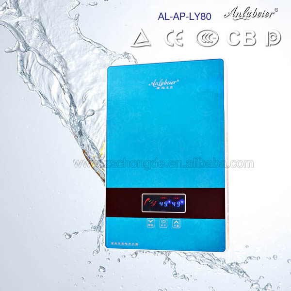 Variety of colors alpha water heater 8kW bathtub water heater temperature adjustable