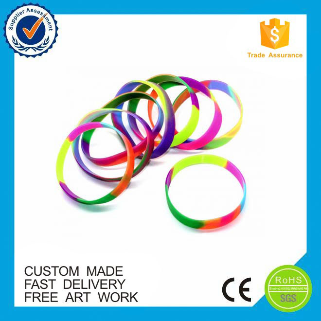 2016 bulk cheap custom mix color silicone rubber bracelet