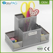 EasyPAG factory direct supply metalen zilveren mesh desktop organizer houder