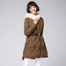 Latest Design Real Fox Fur Coat With Waist Belt European Goose Down Jacket For Winters Women