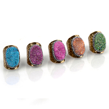 Exaggerated Diamond Engagement Ring Druzy Gemstone Gold Ring Women Ring