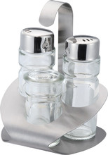 wholesale 3pcs round clear glass cruet set with stand