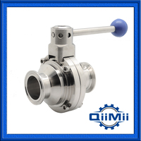 Sanitary Butterfly Ball Valve Tri Clamp,Weld,Thread End